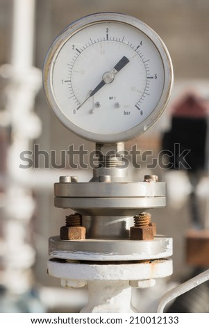 One manometer on chemical plant - stock photo