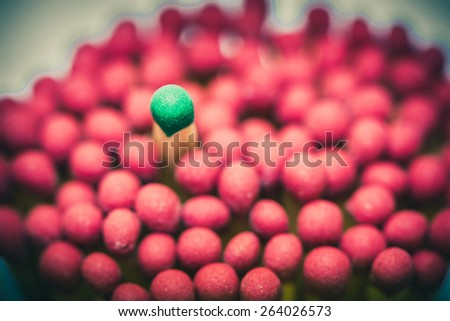 One match standing out from the crowd, leadership concept - stock photo
