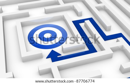 one maze with an arrow pointing to the centre where there is a target (3d render) - stock photo