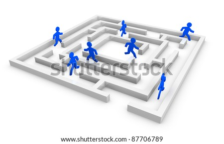 one maze with some cartoons men that search the right way (3d render) - stock photo