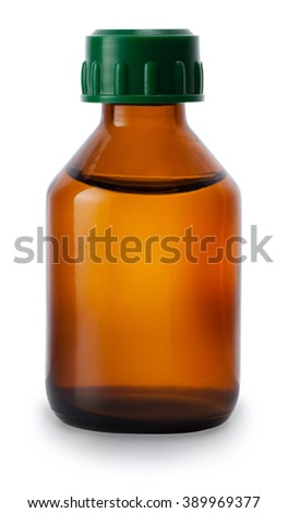 one medicine bottle of brown glass with liquid without label isolated on white background - stock photo