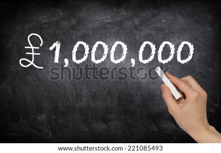 One million dollar, written with white chalk on a blackboard - stock photo