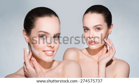 One model in two images - stock photo