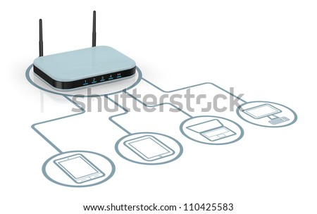 one modem router with two antennas for wireless network, connected to several devices (3d render) - stock photo