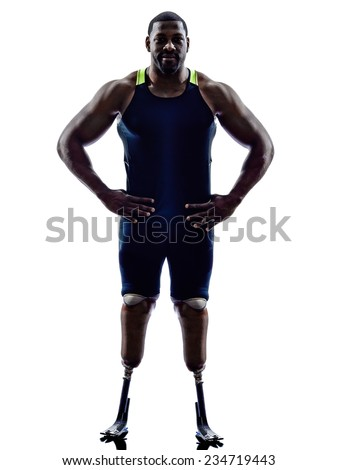 one muscular handicapped man runners sprinters standing with legs prosthesis in silhouette on white background - stock photo