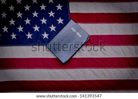 One Nation Under God. American Flag and King James Bible. - stock photo
