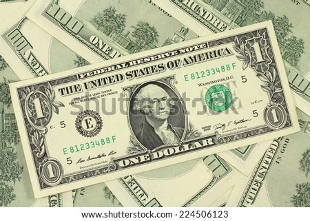one new American dollar background - stock photo