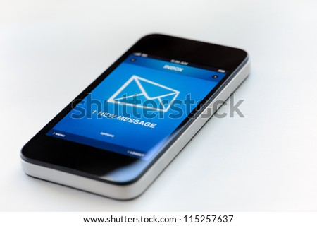 One new message on a modern mobile phone. - stock photo
