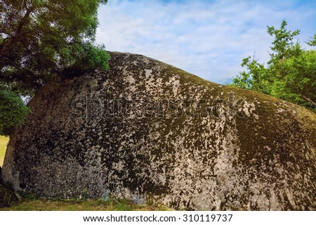 One of Big Boulders in the Stone Formation of Bulgaria Known as Beglik Tash - stock photo