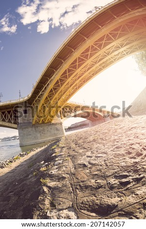 One of Budapest on the Danube bridge, view from below - stock photo