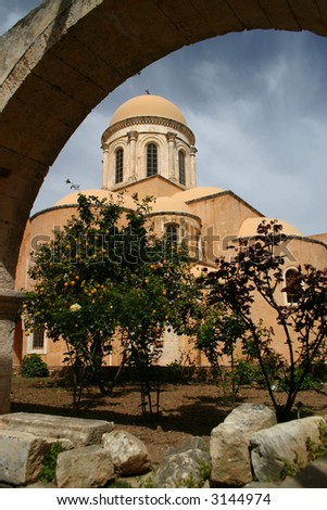 One of buildings of Monastery Agia Triada, Crete - stock photo
