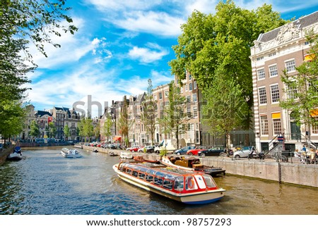 One of canals in Amsterdam - stock photo