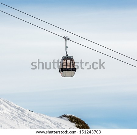 One of chair lifts in a ski resort of a valley of the Zillertal - Mayrhofen, Austria - stock photo