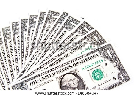 One of dollars spread on white background - stock photo