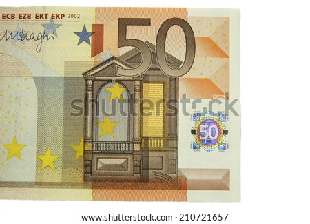 One of fifty euro banknote isolated on the white background - stock photo