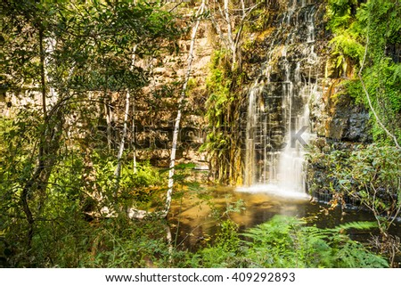 One of five waterfalls along the Moremi Gorge (Goo Moremi) trail in Botswana, Africa - stock photo