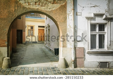 One of Gateways in the Old City of Szekesfehervar, Hungary - stock photo