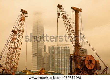 One of many construction sites in Hong Kong - stock photo