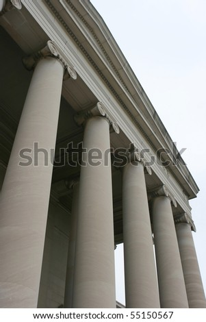 One of several shots of columns on the U.S. Supreme Court Building in Washington, DC. - stock photo