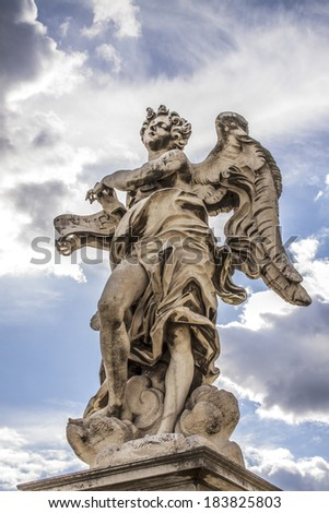 One of the Angel near Castle Sant'Angelo in Rome - stock photo