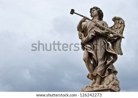 one of the angels of the Ponte del Angeli in Rome - stock photo