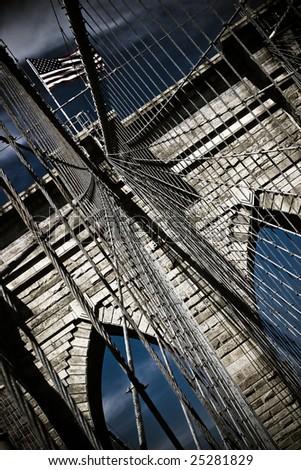 One of the arcs of the Brooklyn Bridge in New York - stock photo