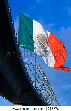 One of the big mexican flags found around the country. - stock photo