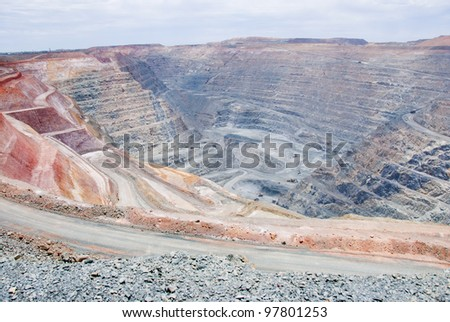 One of the biggest man made mining hole digged into the ground of Kalgoorlie, Western Australia - stock photo