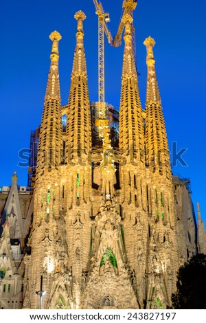 One of the facades of the Sagrada Familia in Barcelona at dawn - stock photo