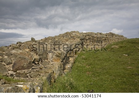One of the greatest monuments to the power - and limitations - of the Roman Empire, Hadrian's Wall ran for 73 miles across open country. - stock photo