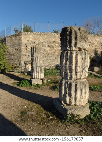 One of the Greek buildings which the Roman colonists restored for their use was the Archaic Temple, possibly the most imposing piece of architecture of Hellenistic Corinth - stock photo