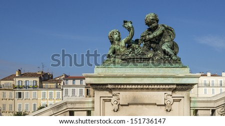 """One of the historic sculptures at the station """"Saint Charles"""" of Marseille in South France - stock photo"""