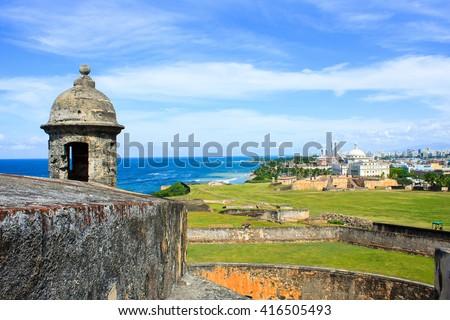 One of the lookouts towards the ocean at Castillo de San Cristobal,San Juan Puerto Rico - stock photo