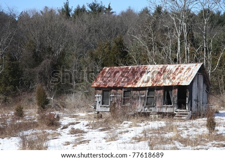 One of the many abandoned buildings found in Delaware Water Gap National Recreation Area. - stock photo