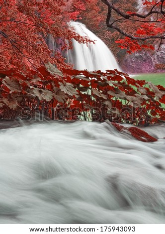 One of the many waterfalls of the Plitvice Lakes National Park - stock photo