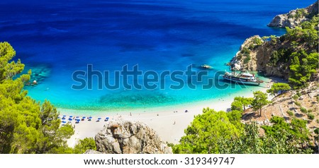 one of the most beautiful beaches of Greece - Apella in Karpatho - stock photo