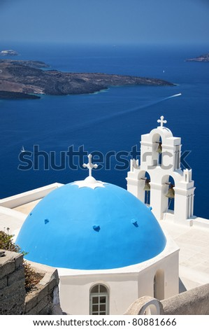 One of the most famous churches on santorini situated in the village of firostefani. - stock photo