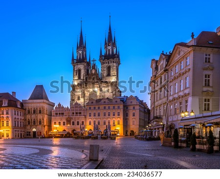 One of the Prague symbols, Church of Our Lady of Tyn, old gothic church in old town main square, Stare Mesto, Prague. - stock photo