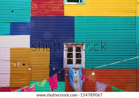 One of the typical walls in La Boca, Buenos Aires - stock photo