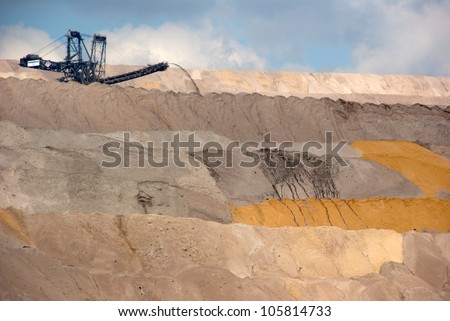 One of the world's largest bucket-wheel excavators (background) digging lignite in of the world's deepest open-pit mines - stock photo