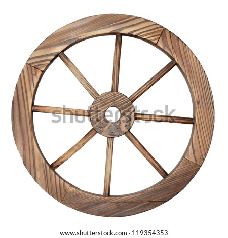 one old wooden wagon wheel on white - stock photo