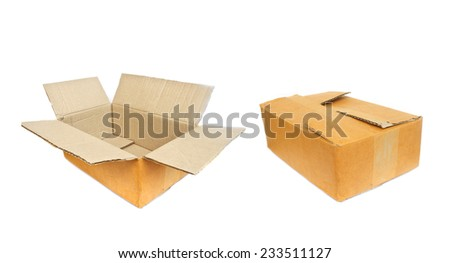 One Open and One Closed Cardboard Box for Packaging on White Background - stock photo