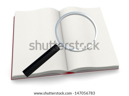 one open book with a magnifying glass, concept of studying and researching information (3d render) - stock photo