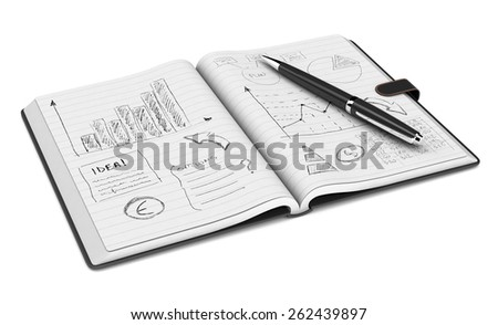 one open paper notebook and a pen, hand drawn doodles of business plan, white background (3d render) - stock photo