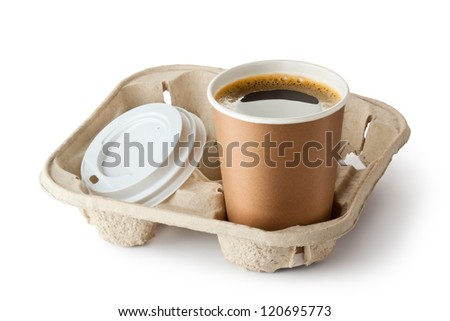 One opened take-out coffee in holder. Isolated on a white. - stock photo