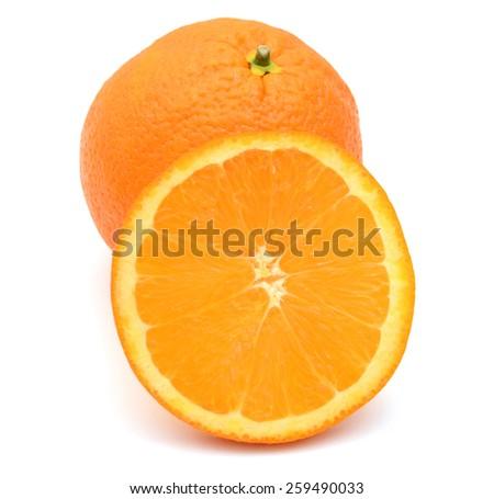 one orange and one slice on white background  - stock photo