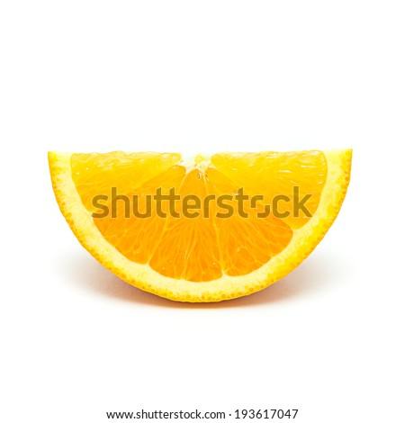 One orange fruit segment isolated on white background - stock photo