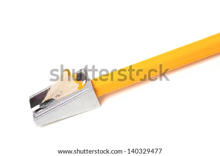 One orange pencil and pencil sharpener isolated on white background - stock photo