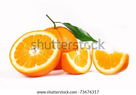 One oranges and half juicy half oranges - stock photo