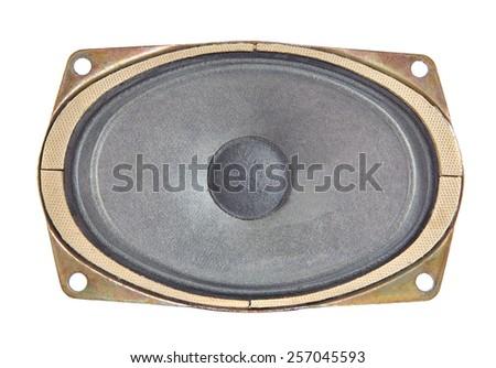 One oval speaker isolated on white background - stock photo
